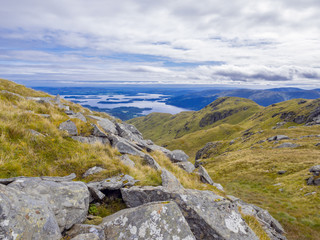 view of the loch Lomond from the foothills of the Ben Lomond mountain in Scotland