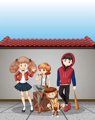Group of teenagers scene