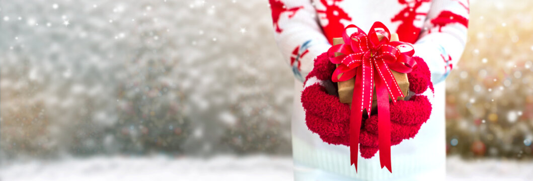 Holding Christmas gift for party. Celebrating and Happy New year.Winter season with snow.