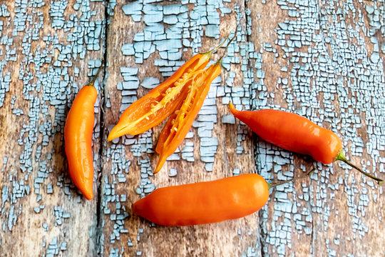 View of Peruvian yellow hot pepper
