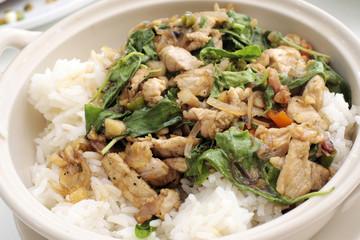 Pork spicy basil sauce with rice.