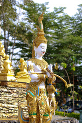 Thai angel statue  at temple in Thailand,Thai pattern statue