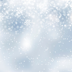 Happy New Year and Christmas greeting card falling snowflakes. Vector
