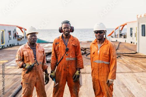 Seamen crew AB or Bosun on deck of offshore vessel or ship