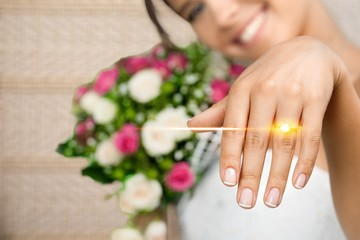 Close-up Beautiful Young Bride Showing hand and