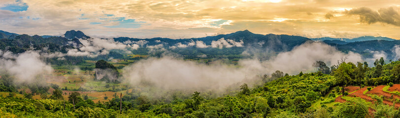 Landscape of Morning Mist with Mountain.