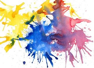 Splash watercolor background. Hand painted illustration.