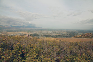 Panoramic view of the city from mountains.
