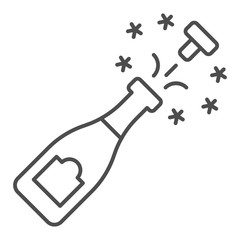 Champagne bottle open thin line icon. Alcohol vector illustration isolated on white. Champagne bottle explosion outline style design, designed for web and app. Eps 10.