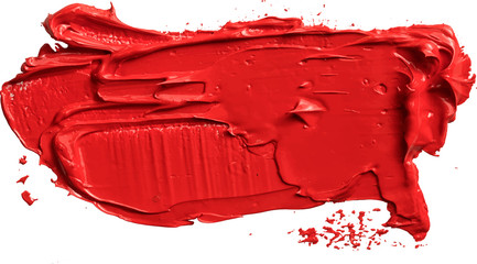 Textured red oil paint brush stroke,convex with shadows, eps 10 vector illustration isolated on transparent background