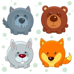 Set of beautiful round icons in the form of wild animals for children and design, wolf, bear, fox, hare or rabbit. Round animals inscribed in a circle.