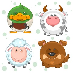 Set of beautiful round pet icons for kids and design, duck, cow, sheep and dog with bone. Round animals inscribed in a circle.