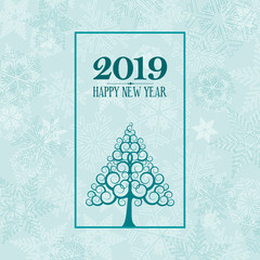 2019 Happy New Year. greeting, invitation or menu cover. vector illustration