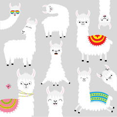 Llama alpaca set. Face glassess. Cute cartoon funny kawaii character. Childish baby collection. Fluffy hair fur. T-shirt, greeting card, poster template print. Flat design. Gray background.