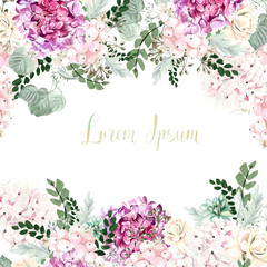 Beautiful watercolor wedding card with leaves and flowers of  hudrangea, roses, succulents.