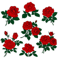 Silhouettes of red roses and green leaves