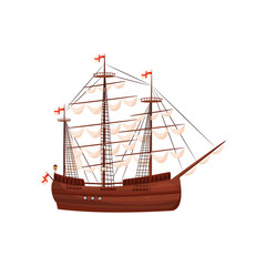 Wooden sailing ship. Old marine vessel with beige sails and bright red flags. Flat vector element for mobile game