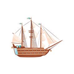 Wooden ship with big beige sails, flag with blue crosses and round windows. Medieval marine vessel. Flat vector icon