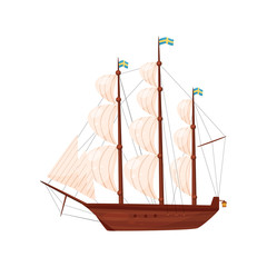 Old wooden ship. Sailing vessel. Marine transport. Sea and ocean theme. Flat vector element for historical book or postcard