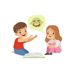 Cute little boy and girl reading a scary book, kids fabulous imagination concept vector Illustration on a white background
