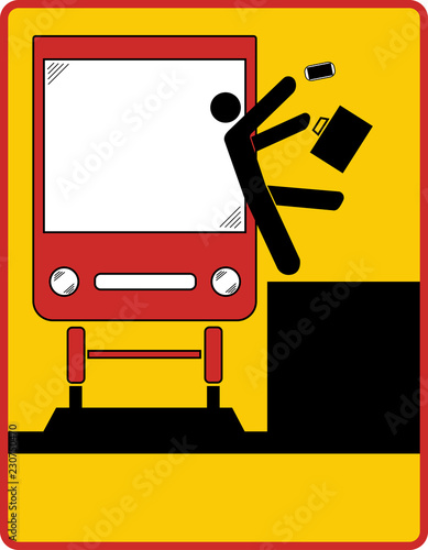 abstract warning sign man falling from station platform to rail