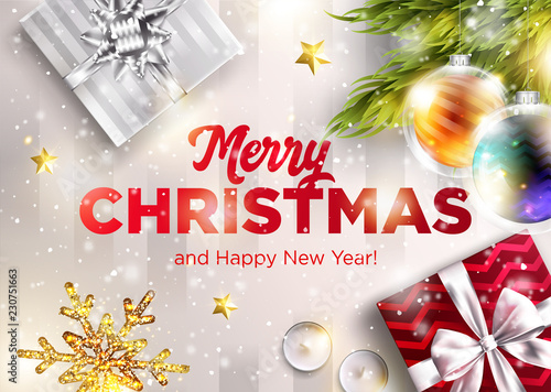 merry christmas vector greeting card happy new year 2019 graphic design template holiday scene