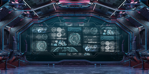 Dark spaceship interior with control panel digital screens 3D rendering