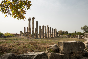 Marble columns of Zeus temple at Uzuncaburc Ancient city. Uzuncaburc antique city is in the rural area of Silifke district. Mersin, Turkey
