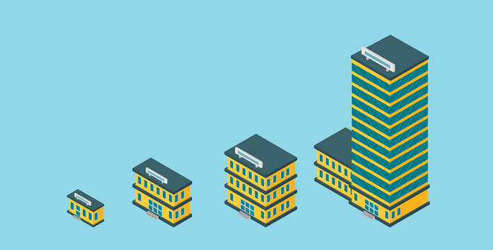 Growth of business. Buildings of company small, middle and big. Flat vector isometric