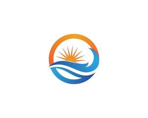 Sun and Blue Water Beach Swoosh Logo