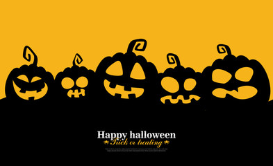 Halloween Background with pumpkins. Vector illustration for banner, poster, greeting card and party invitation.
