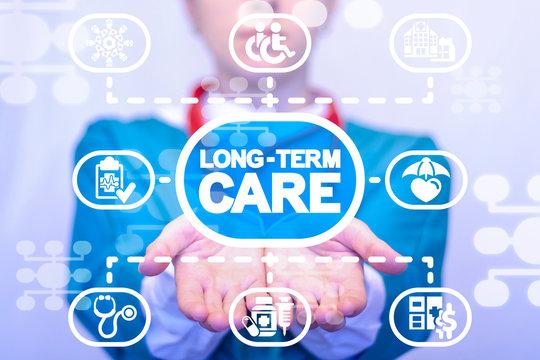 Long-term care insurance medicine. Patient medical service concept.