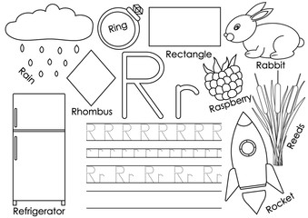 Letter R. Card with pictures and writing practice for preschool children. Learning English language. Coloring book.