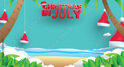 Christmas In July Royalty Free Images.Christmas In July Design With 3d Concept Stock Image And