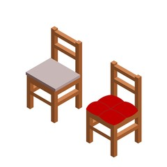 Two chairs in isometric style on a white background. Color drawing of wooden simple chairs with a seat. Vector illustration