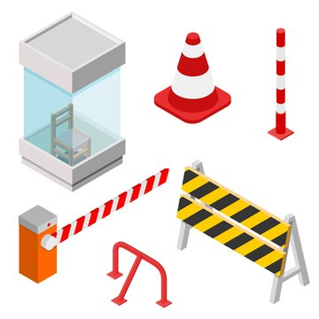 Isometric set of isometric elements. Icons for parking. Parking zone icon. Collection of barriers in the style of isometrics. Vector illustration