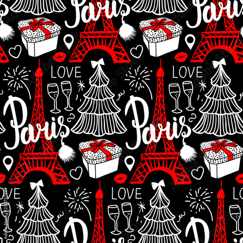 lettering paris and eiffel tower seamless pattern merry christmas and happy new year fashion sketch