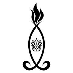Decorative burning candle with symbols, black pattern