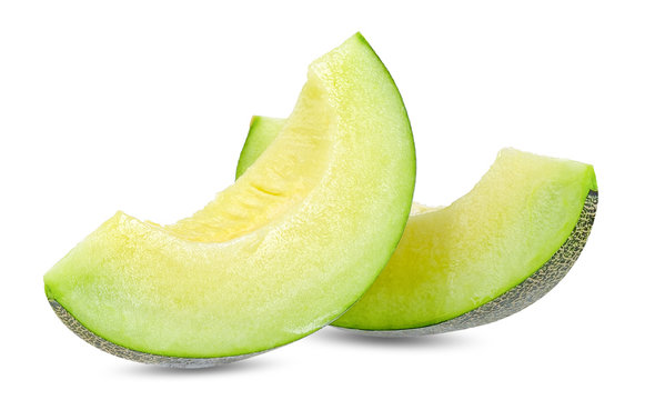Green melon isolated on white clipping path