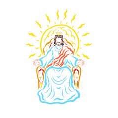 King Jesus on the throne, the shining sun