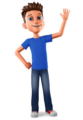 Cheerful guy raised his hand as a sign of greeting to empty space on a white background. 3d rendering. Illustration for advertising.