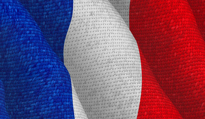 Illustraion of a flying French Flag with a fabric pattern