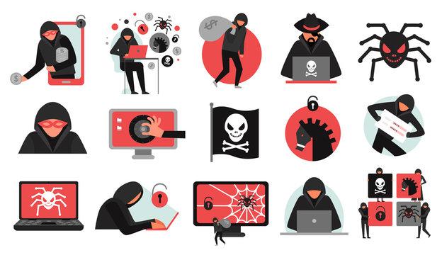 Hacker Activity Icons Set
