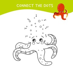 Educational game for kids. Dot to dot game for children. Cartoon octopus.