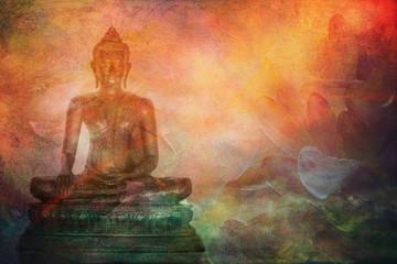 Printed kitchen splashbacks Buddha illustration of buddha statue on abstract painting style background