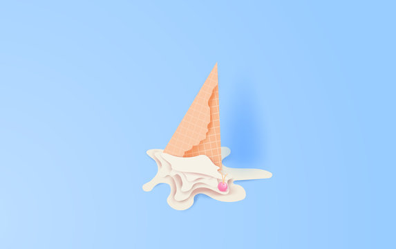 3d paper art and craft of Cute cone white vanilla ice cream fall to ground. cherries fall on ice cream melting on blue color pastel background.graphic design vector and illustration concept
