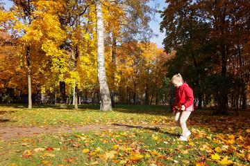 Girl walks in the Park in autumn