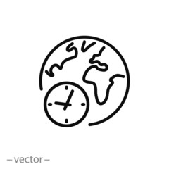 world time icon, clock and globe linear sign on white background - editable vector illustration eps10