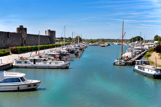 Port of Aigues Mortes, French city walls in the Gard department in the Occitanie region of southern France
