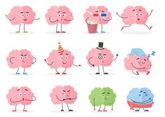 Brain character emoji emoticons set. Funny cartoon brain emotions and activities vector illustration.